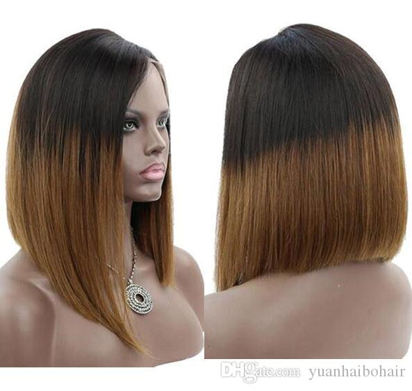 Celebrity wigs full lace wig bob style 12inch ombre 1b 30 bob wig layer virgin Peruvian human hair lace frontal wig free shipping