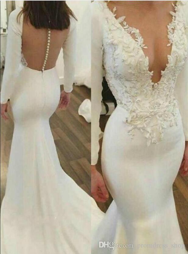 2020 белый / слоновая кость Русалка свадебное платье в стиле ретро с длинными рукавами Глубокий V шеи аппликация развертки поезд Свадебные платья сшитое