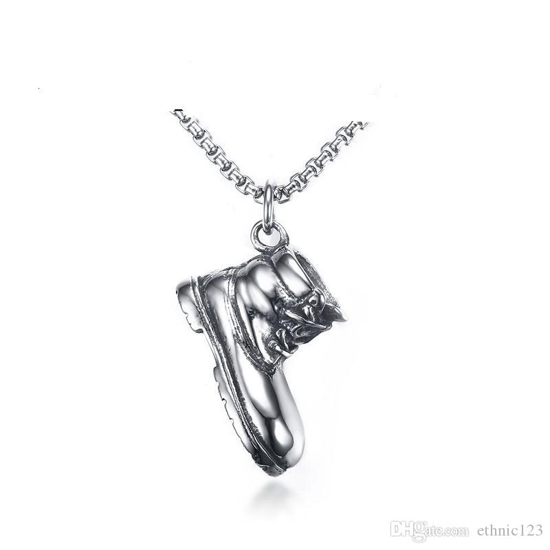 Steel Color Fashion Men's Shoes Pendant Necklace Stainless Steel Link Chain Necklace Jewelry Gift for Boys Men J768
