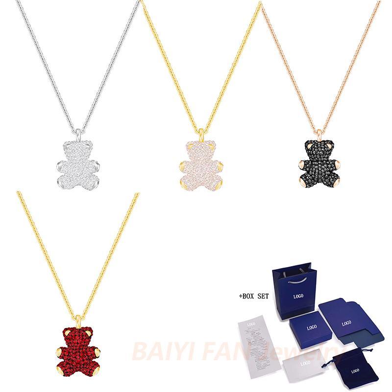 SWA New URSINHO Colar 3D Pingente tridimensional jóias Urso de Cristal Mulheres Engagement Moda Romance presente