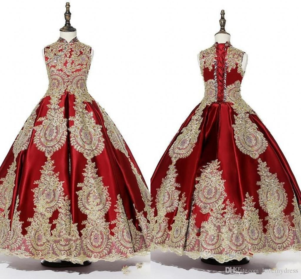Red Gold Appliques Beaded Girls Pageant Dresses 2019 High Neck Lace-up Ball Gown Special Occasion Dress Toddler Party Prom Communion Gowns