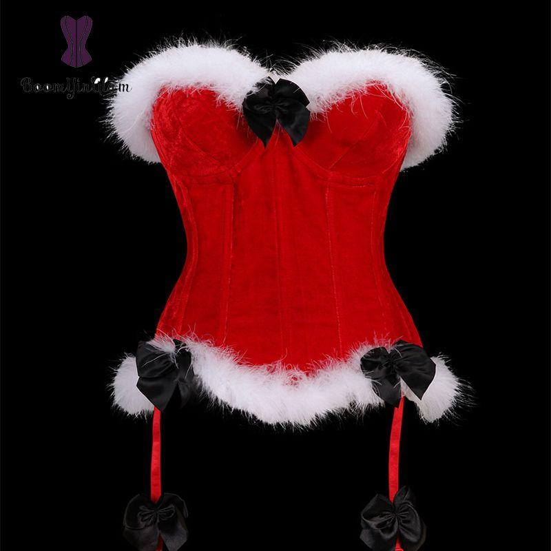 الجملة الجسم المشكل النساء الملابس الداخلية عيد الميلاد مشد مثير الكورسيهات و bustiers مع g سلسلة 940 #