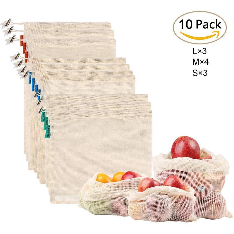 10pcs Cocina reutilizable bolsas de malla para las frutas de malla de cadena bolsas de verduras para los juguetes de las misceláneas de poliéster Organizador Bolsa de almacenamiento
