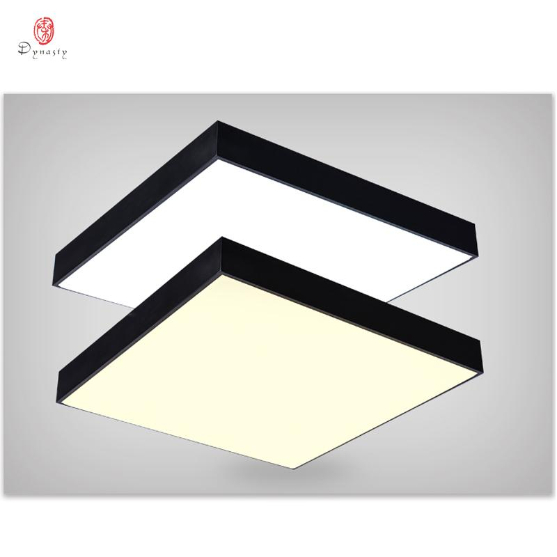Modern Aluminum Ceiling Light Simple Square LED Hanging Lights Fashion Office Bedroom Kindergarten Shop Black& White Lighting Free Shipping