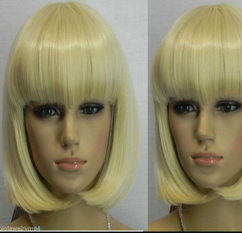 WIG HOT Free Shipping >> New wig Cosplay Short Pale Blonde Straight BOB Style Women's Wigs
