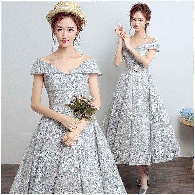 Elegant Tea Length Prom Dresses Off the Shoulder Vintage 50s Formal Party Dress Short Mid-Calf Length Lace Evening Dresses
