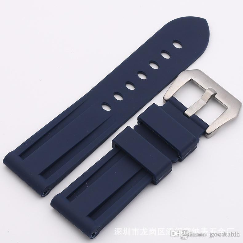 Watch Bands Straps 22mm 24mm Mens Diver Silicone Rubber Soprt Watch Band Strap Screw-in Silver Buckle Relojes Hombre 2016