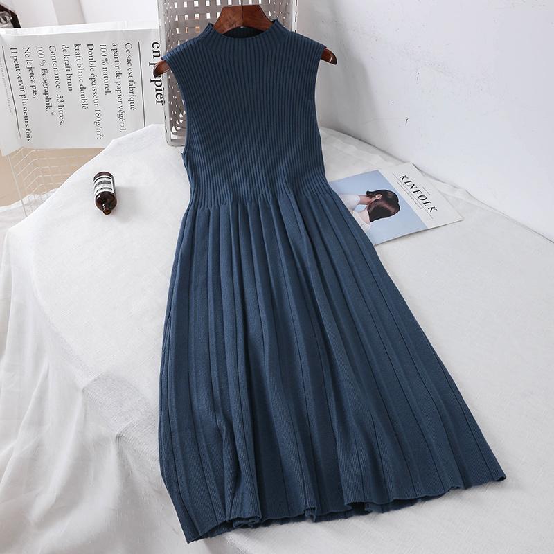 2019 новая мода женские трикотажные платья ретро высокая шея длинные рукава вязание свитер платье MX200319