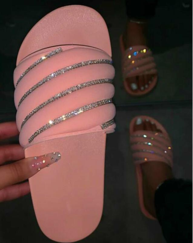 2020 Rhinestone rosa brillante diamante zapatillas de verano Nuevo color del caramelo de las mujeres planas sandalias de playa antideslizante durable de Bling Bling Diapositivas