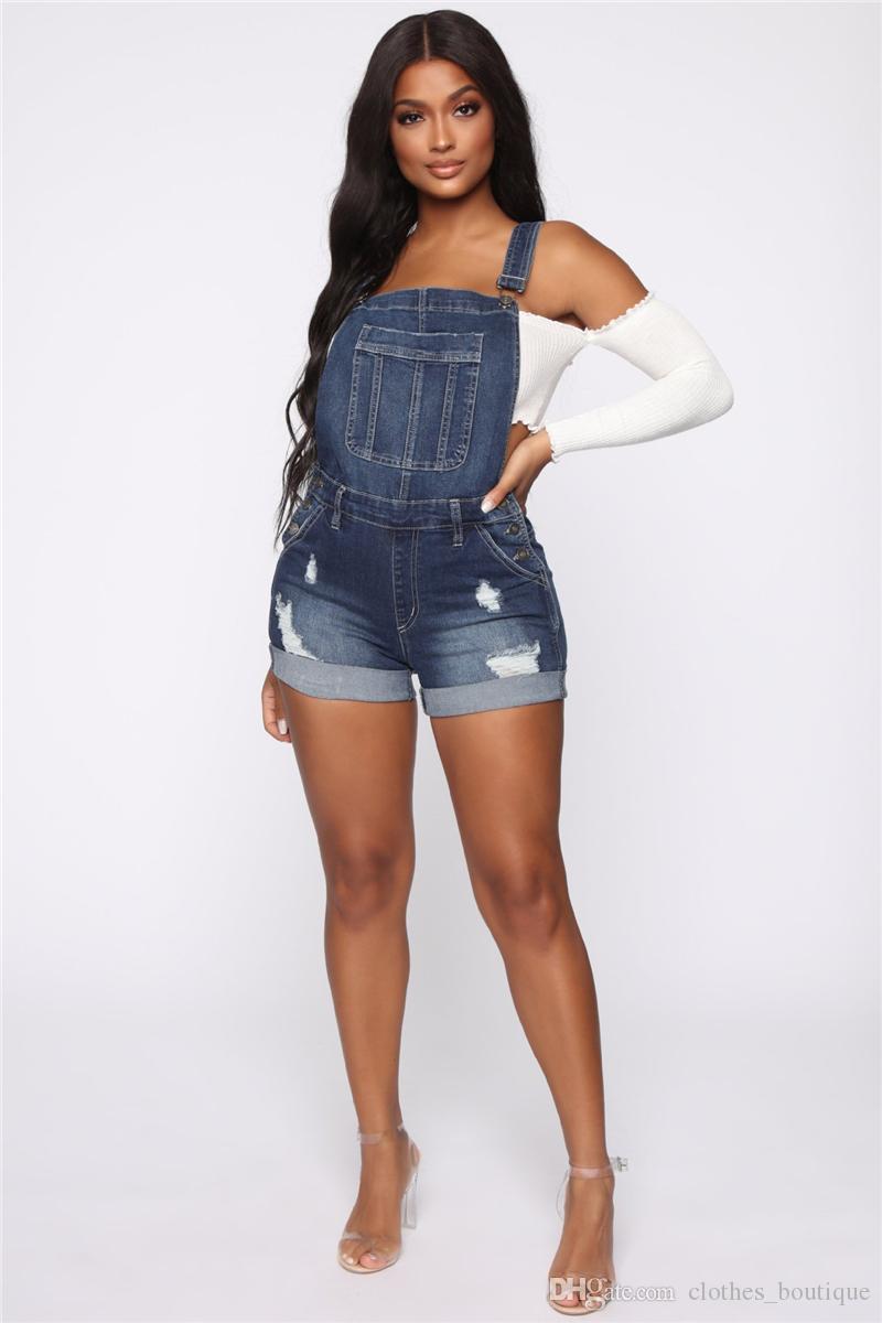 DHL 여성 여름 패션 숏 팬츠 Halter Jumpsuit 플러스 사이즈 스키니 블루 Strecthy Jeans Romper 데님 전체