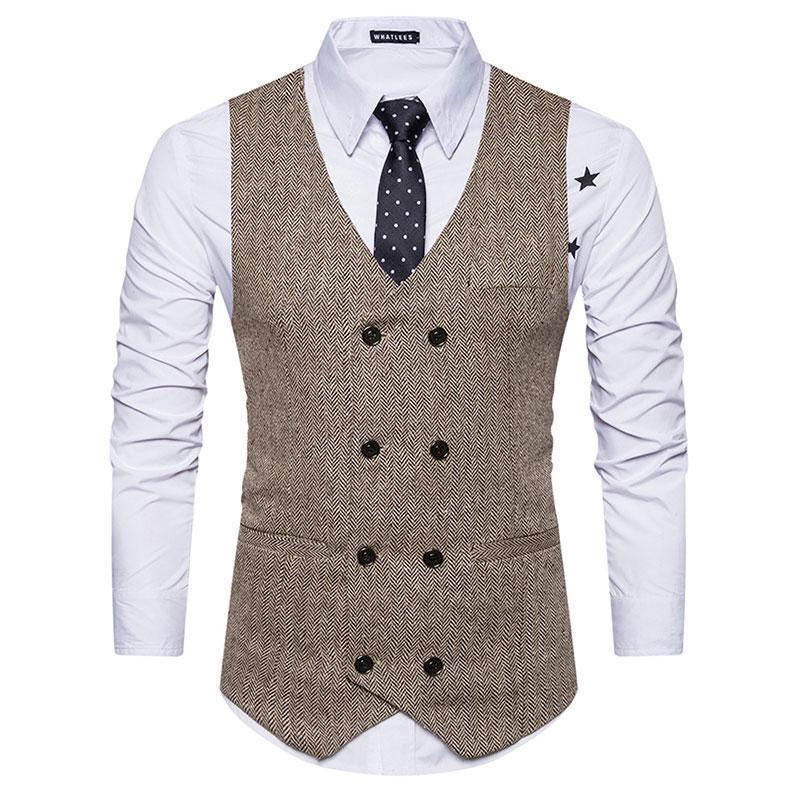 Mens Old School 8 Buttons Herringbone Vests For Male Slim Fit Mans Suit Sleeveless Vest Formal Waistcoat For Suit Or Tuxedo