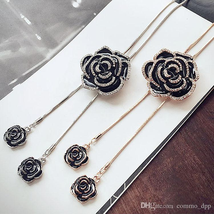 Schwarze Rose Blume Lange Anhänger Halskette Pullover Kette Kristall Frauen 0U