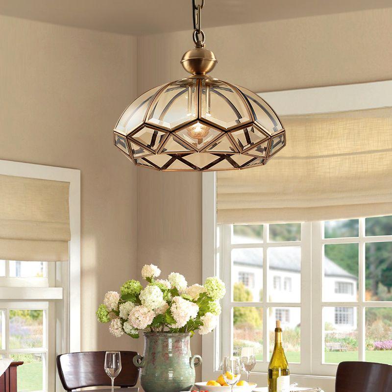 American Country estilo LED luces de techo de cobre para estar Cocina Bedroon vendimia Plafonnier Led colgantes de cristal de la lámpara de RW163