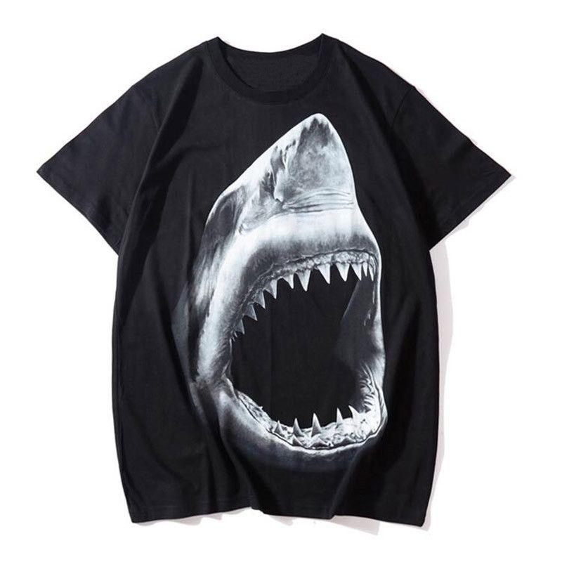 أزياء الرجال التي شيرت القرش الطباعة قصيرة الأكمام تي شيرت المرأة الصيف تي شيرت للجنسين تيز الحجم S-XXL