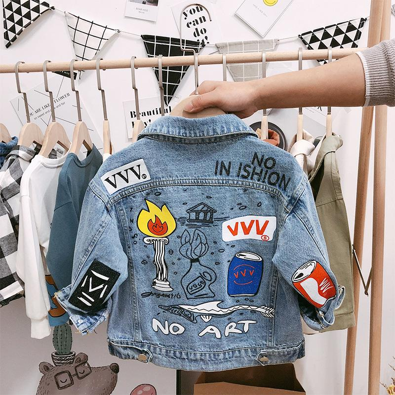 Children's Denim Jackets Boys Trench Jean Jackets Girls Kids clothing baby coat Casual outerwear Windbreaker Spring Autumn 2-6Y T200104