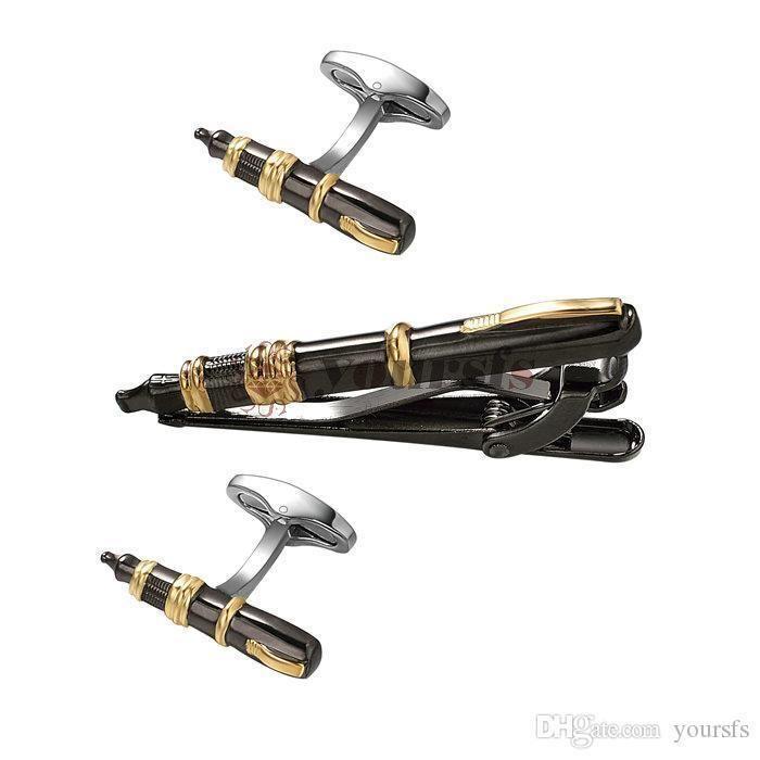 Yoursfs Fountain Pen Cufflinks Tie clip set for Men Author Cufflinks Vintage Father's Day Present Writer Cufflinks