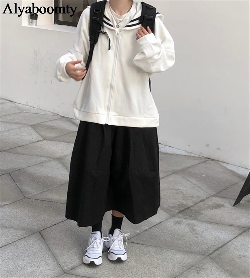 Japanese Harajuku Women Streetwear Outerwear Sailor Collar Oversized Zipper Jacket Coat White Navy Cute Kawaii Girl's Overcoat T191023