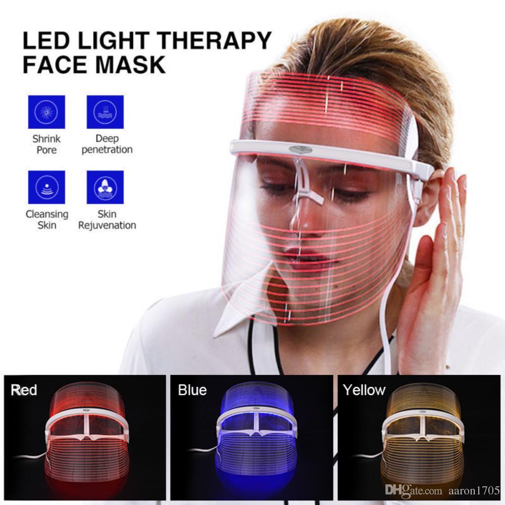 새로운 3 색 LED 라이트 미용 얼굴 마스크 악기 페이셜 SPA 치료 장치 안티 여드름 주름 제거 미용 기계