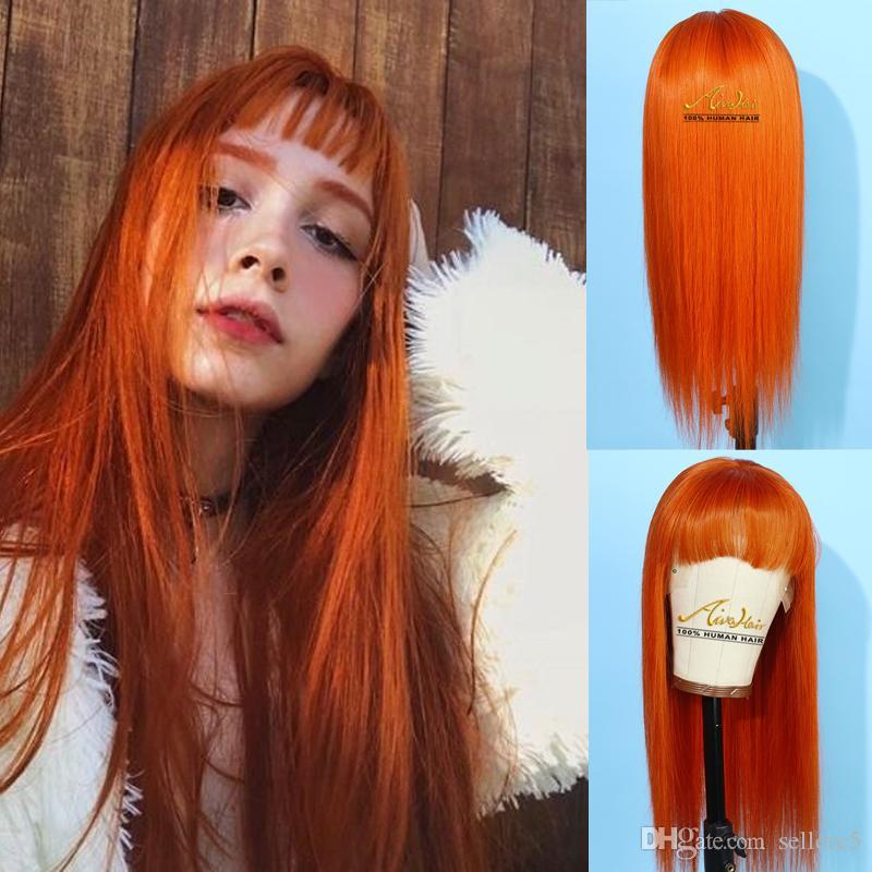 AIVA Cheveux Orange / Rose Fulll dentelle perruque avec une frange pré plumé Silky droite Glueless Vierge péruvienne cheveux Glueless perruques pour les femmes noires