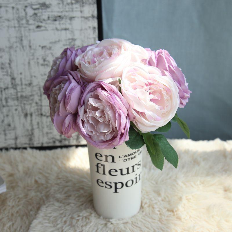 Artificial Flowers Peony por Decor Wedding Silk Peonies Bouquet for Fake Decoração Rose Flor 5PCS / Bouquet