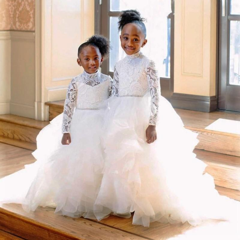White High Neck Flower Girl Dresses With Sash Long Sleeves Tiers Little Girl Wedding Gowns Lace And Tulle Tiered Girls Pageant Dress