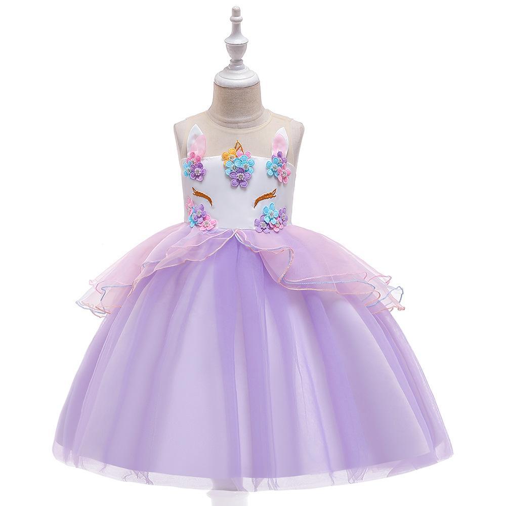 Мода бальное платье фиолетовый тюль пачка Первое причастие платье девушки цветка платья для вечерней вечеринки на складе