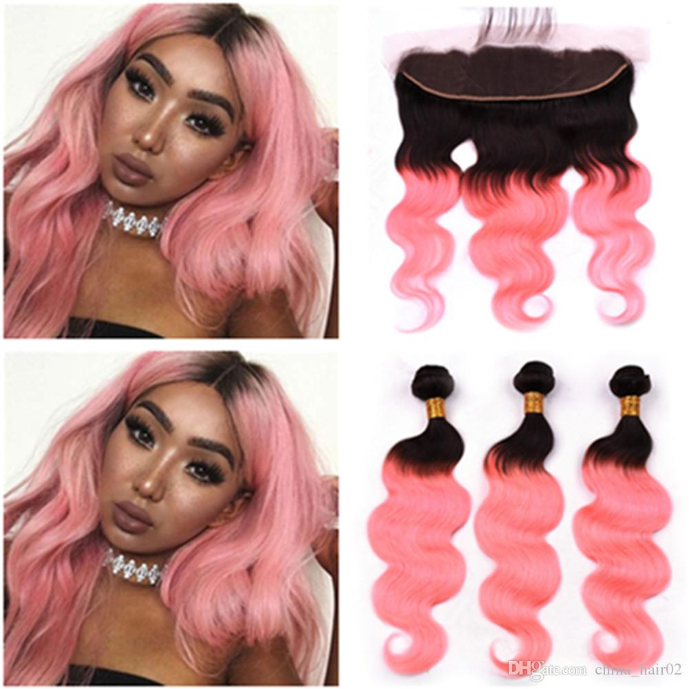 #1B/Pink Ombre Body Wave Brazilian Human Hair 3Bundles and Frontal Ombre Rose Gold Human Hair Lace Frontal Closure 13x4 with Weaves