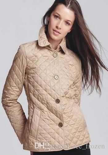 Primavera Londra diamante delle donne Brit Giacche Femminile Inghilterra progettazione maniche lunghe Outwear vestiti del vestito monopetto Solid pelo corto Tops Khaki