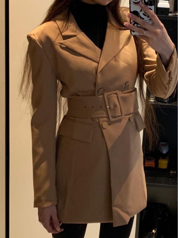 Women's Jackets Fashion 2021 Women Khaki Casual Spring Autumn Jacket Female Elegant Adjustable Waist With Belt Long Sleeve Casaco Feminino