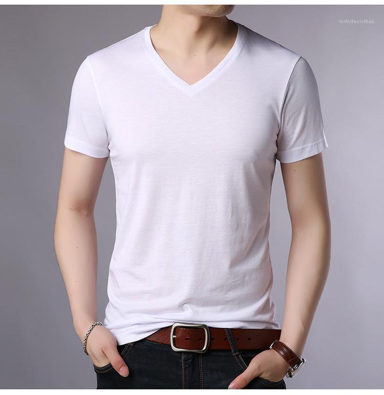 Tees cor sólida V-Neck roupas casuais camisa Designer Mens Fashion T-shirt Verão solto manga curta teeneger
