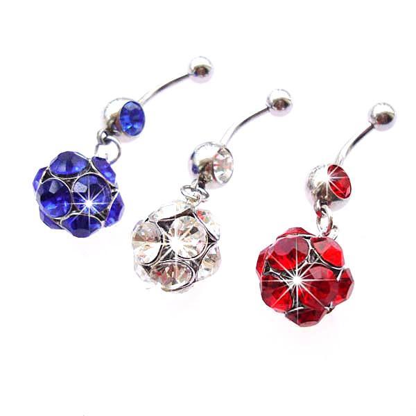 D0153 (3 renk) Göbek Düğme Göbek Yüzükler Piercing Takı Dangle Moda Charm Güzel CZ Taş Çelik 10 Ad / Lot