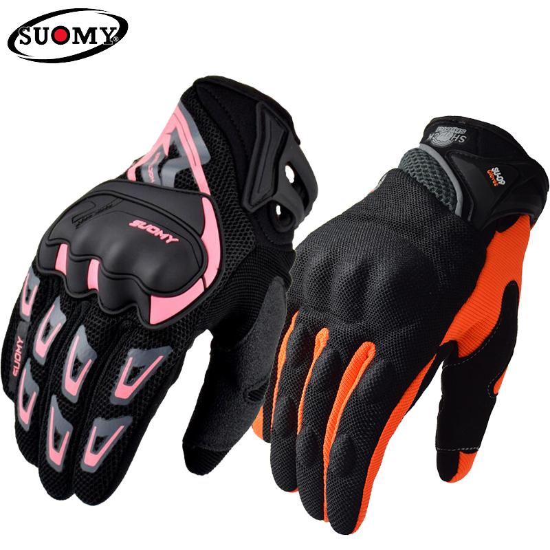 Suomy Summer Motorcycle Gloves Full Finger Motorbike Gloves Breathable Women Men Pink ATV Rider Gloves Moto Guantes Motor Outdoor Sports XXL