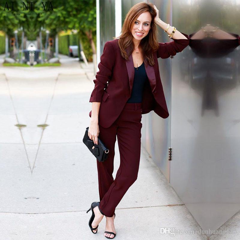 Trajes de negocios para mujer Trajes de pantalón formal de vino rojo para bodas Delgado uniforme de oficina para mujer OL Pantalón de trabajo Ropa de 2 piezas