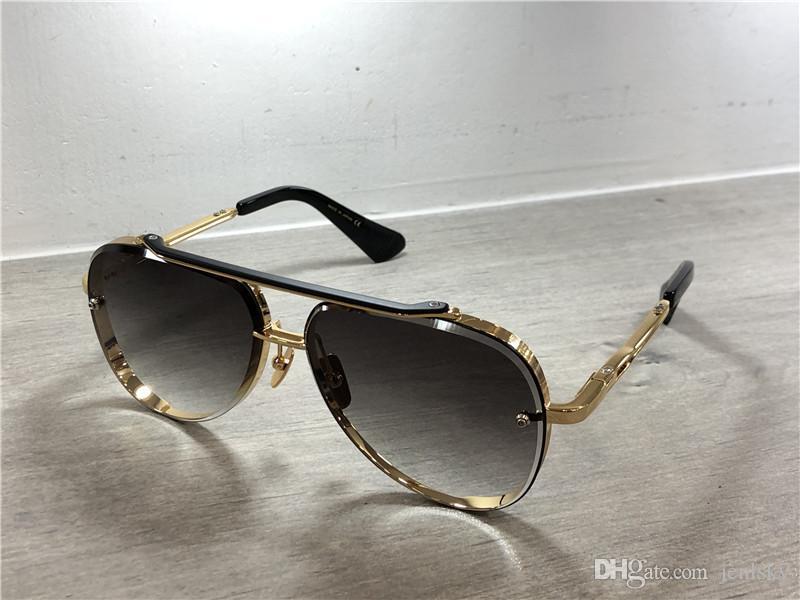 Ouro / Preto piloto Óculos de sol cinza protegido azul Lens Sun Óculos Óculos de sol Mens Sunglasses Shades com caixa