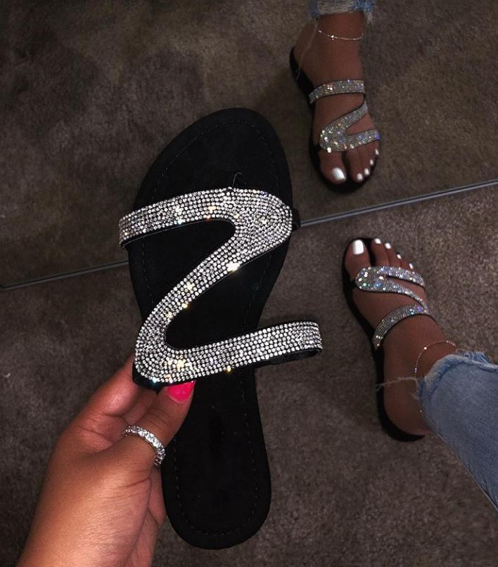 2019 Mode Damenschuhe Diamant flache Sandalen Mode sexy Pantoffeln, Kasten