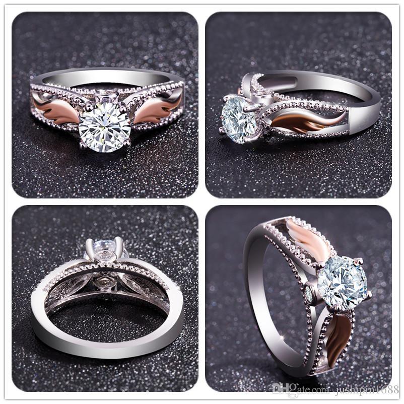 Argento 925 classici popolari signore originale moda intarsiato zircone anello gioielli
