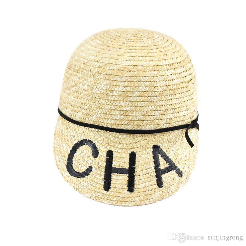 2019 Yeni Moda CHA Mektup Kapaklar Yüksek Kalite Dokuma Straw Kadınlar için Basit Şapkalar Nefes Serin Güneş Şapka