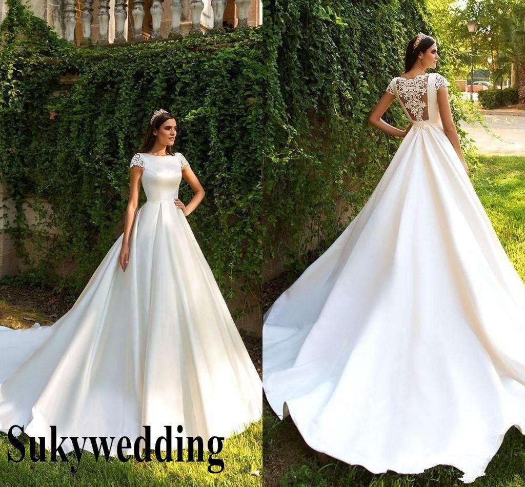 2019 bellissimi abiti da sposa da sposa in pizzo manica corta una linea di raso appliques principessa paese abiti da sposa sweep treno vestido de noiva