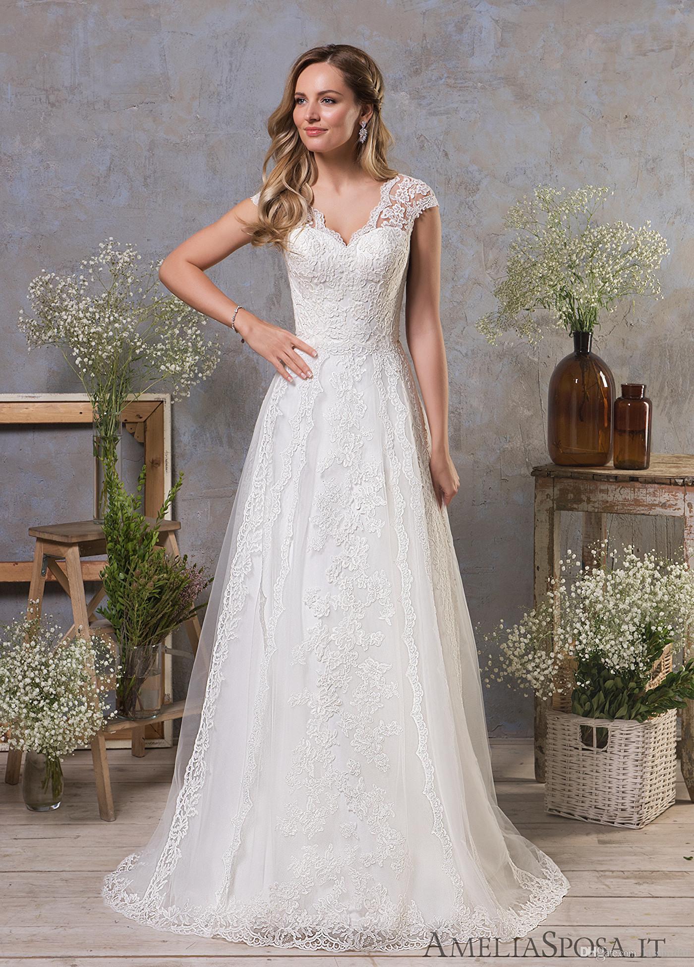 Vintage Lace Wedding Dresses A Line V Neck Short Sleeve Bridal Gowns with Open Back vestido de novia Country Corset Formal Dress