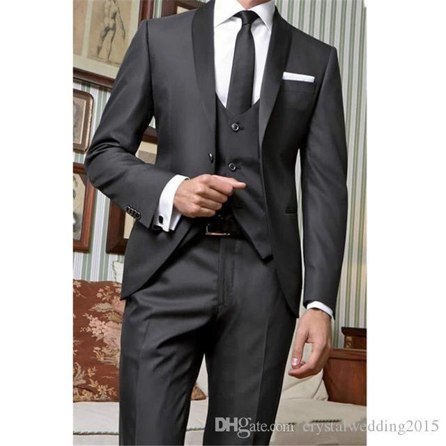 Nuovi One Button Groomsmen scialle risvolto nozze smoking dello sposo degli uomini vestiti di cerimonia nuziale / promenade / Cena Best Man Blazer (Jacket + Tie + Vest + Pants) 516