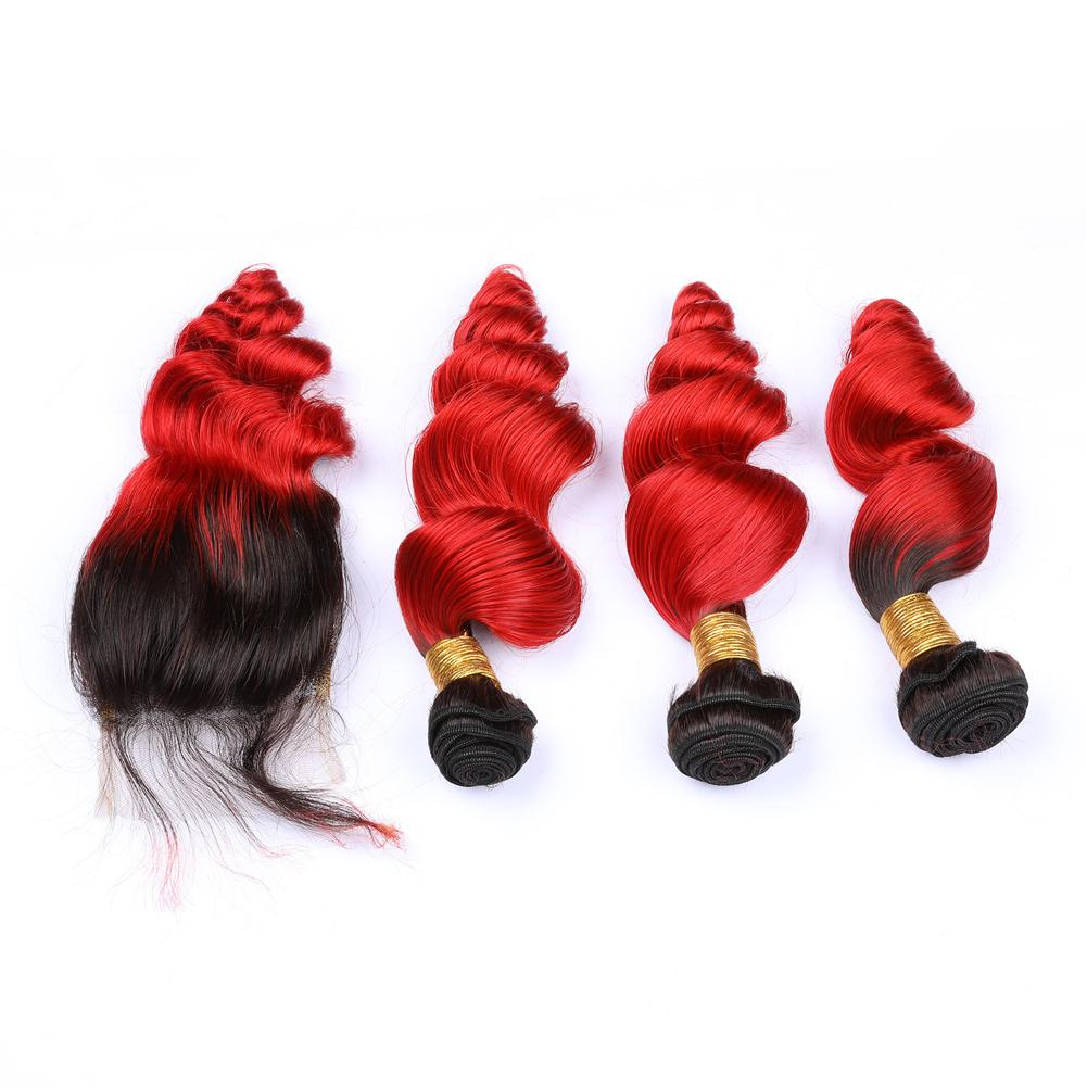 Kapatma ile Kapatma Malezya Saç # 1B / # Kırmızı Gevşek Dalgalı Ombre Saç Dokuma ile Ombre Dalgalı Saç Paketler
