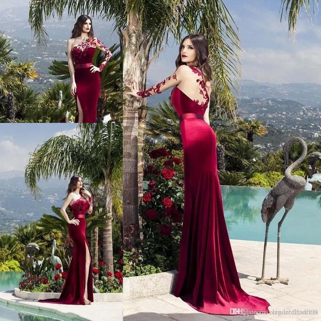 Nueva Sexy Borgoña sirena vestidos de baile de alta lateral abierto de un hombro de encaje de manga larga noche formal de los vestidos de partido ogstuff Abendkleider
