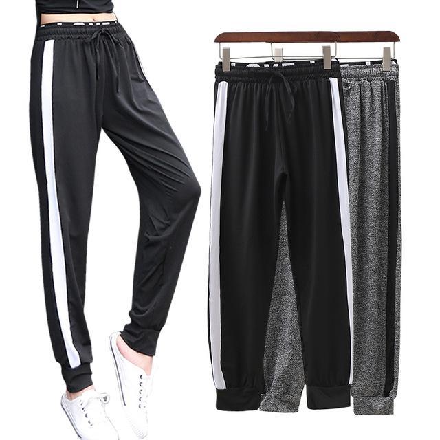 Frauen-Sommer-beiläufige Streifen dünnen Sport Outfit Gym Quick Dry Jogging Yoga Fitness Hosen mit hohen Taille losen lange Hosen
