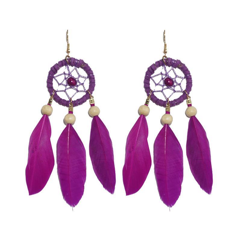 Anpassbare Bohemian Natur Feder Traumfänger-Ohrring für Frauen Holzperlen Elegante Ethnic Statement Ohrringe Versorgung Hersteller