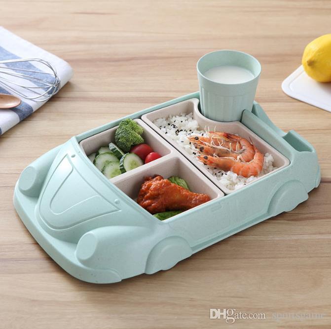 هدية أدوات المائدة مجموعة اللوحة الإبداعية سيارة الكرتون الطفل أطباق مجموعة ألياف الخيزران لوحة + كأس الفرعية شبكة السلطانية للأطفال أطباق التغذية