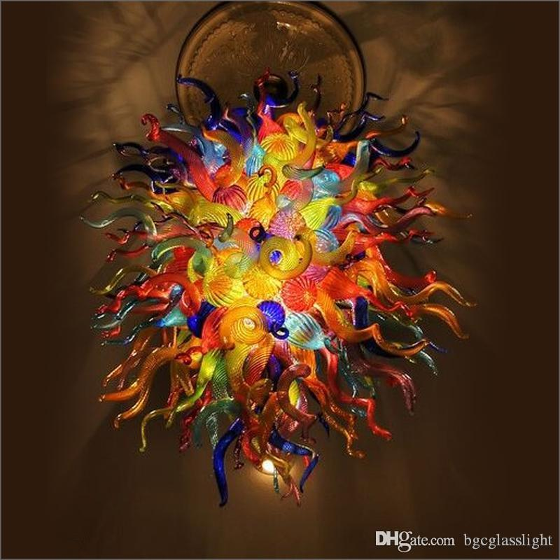 Modern Kitchen Design Personal Circle Crystal Chandeliers Colorful Dale Chihuly Style Small Cheap LED Pendant Light