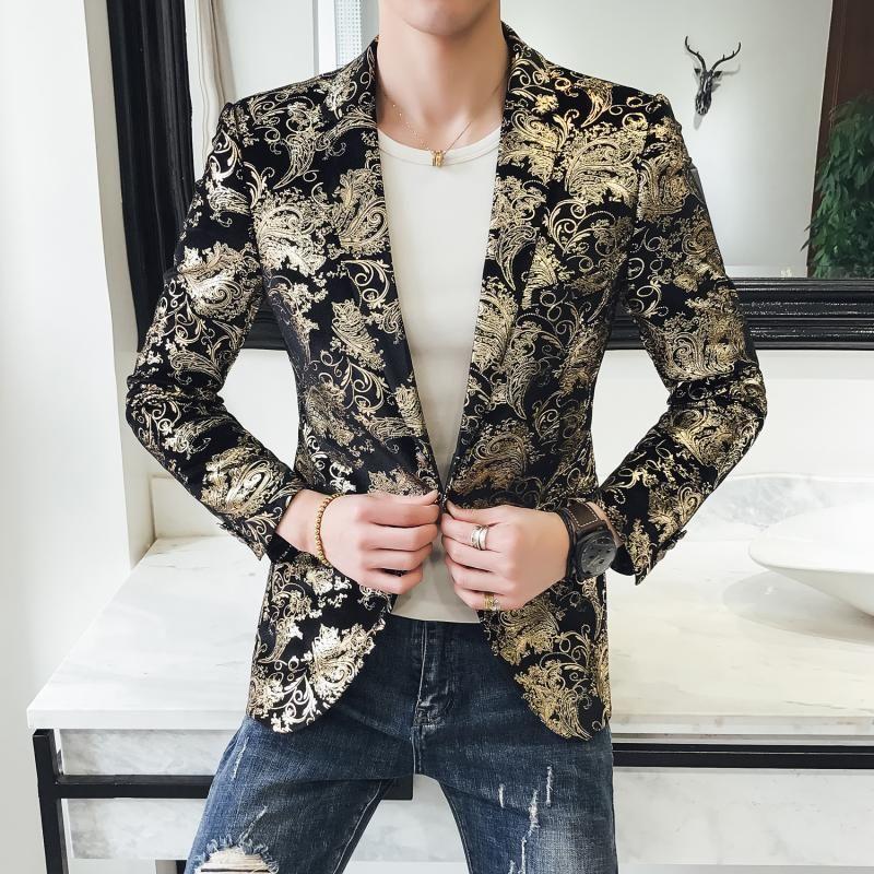 Primavera 2020 Nuova giacca sportiva degli uomini Mens floreale Blazer slim fit casuale Streetwear Uomini Night Club Prom Tuxedo Abiti formali