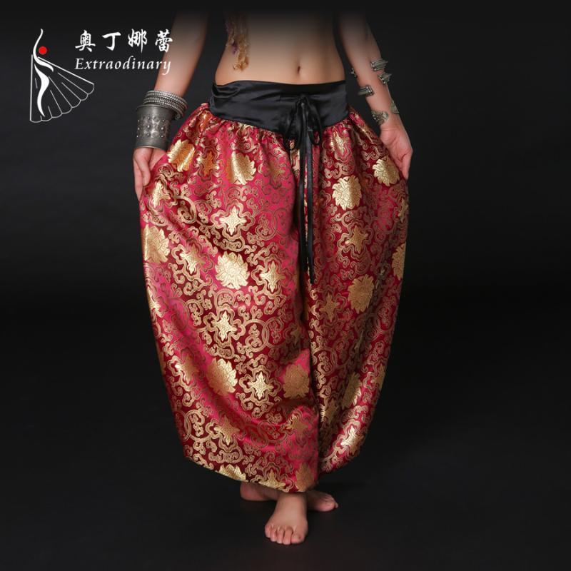 Свободный размер хлопок и сатин Материал Танец живота Tribal фонариков брюки Stage Performance Dancewear Этнические Длинные брюки ATS