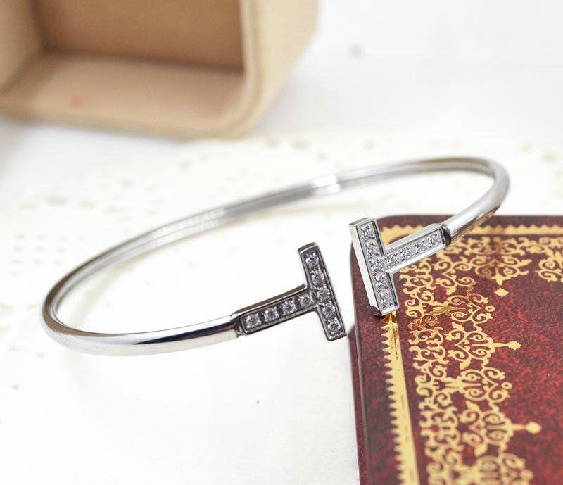 prata aço inoxidável Cuff pulseira microscópio zircão 18 k banhado a ouro duplo T carta de abertura pulseira de jóias de moda feminina