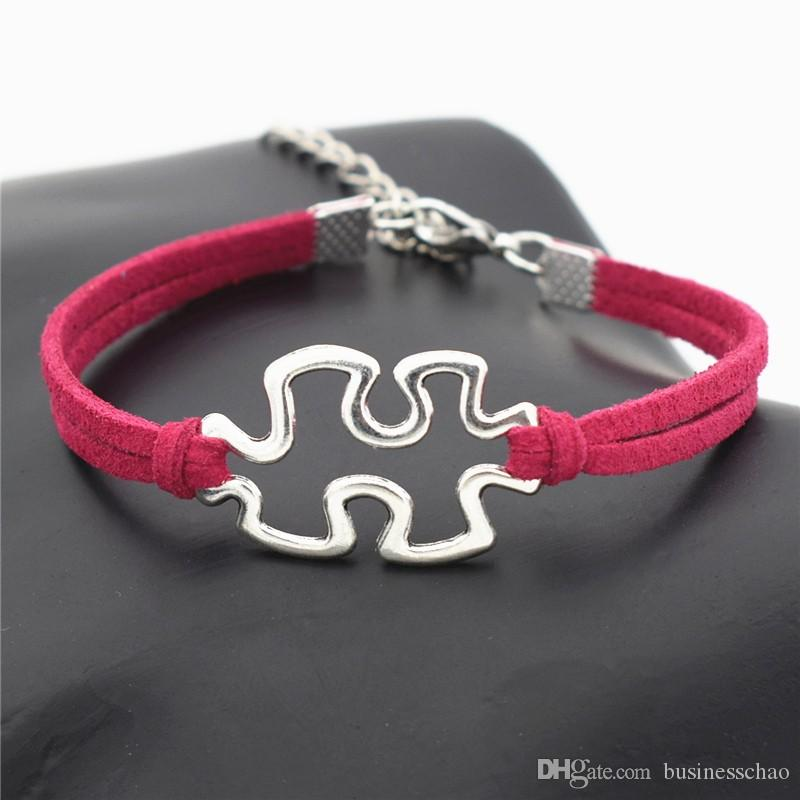 Design Trendy Infinity Love Autism Awareness Jigsaw Puzzle Symbol Pendants Bracelets for Women Men Rose Red Leather Suede Rope Jewelry Gifts